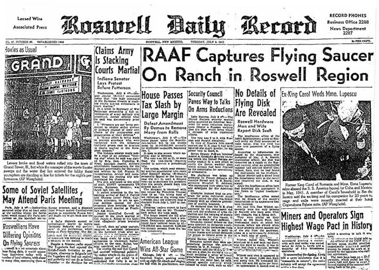Roswell Daily RecordJuly 8,1947 UFO US Airforce